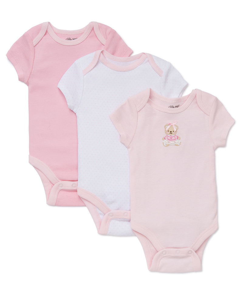 Pink Bear 3-Pack Bodysuits