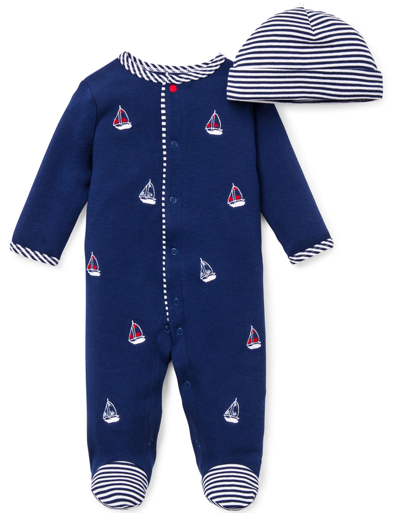 Sailboats Footed One-Piece And Hat - Little Me