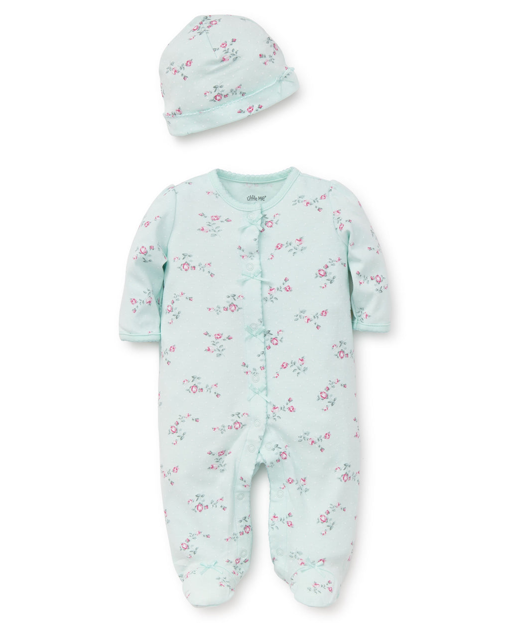 Floral Spray Footed One-Piece And Hat