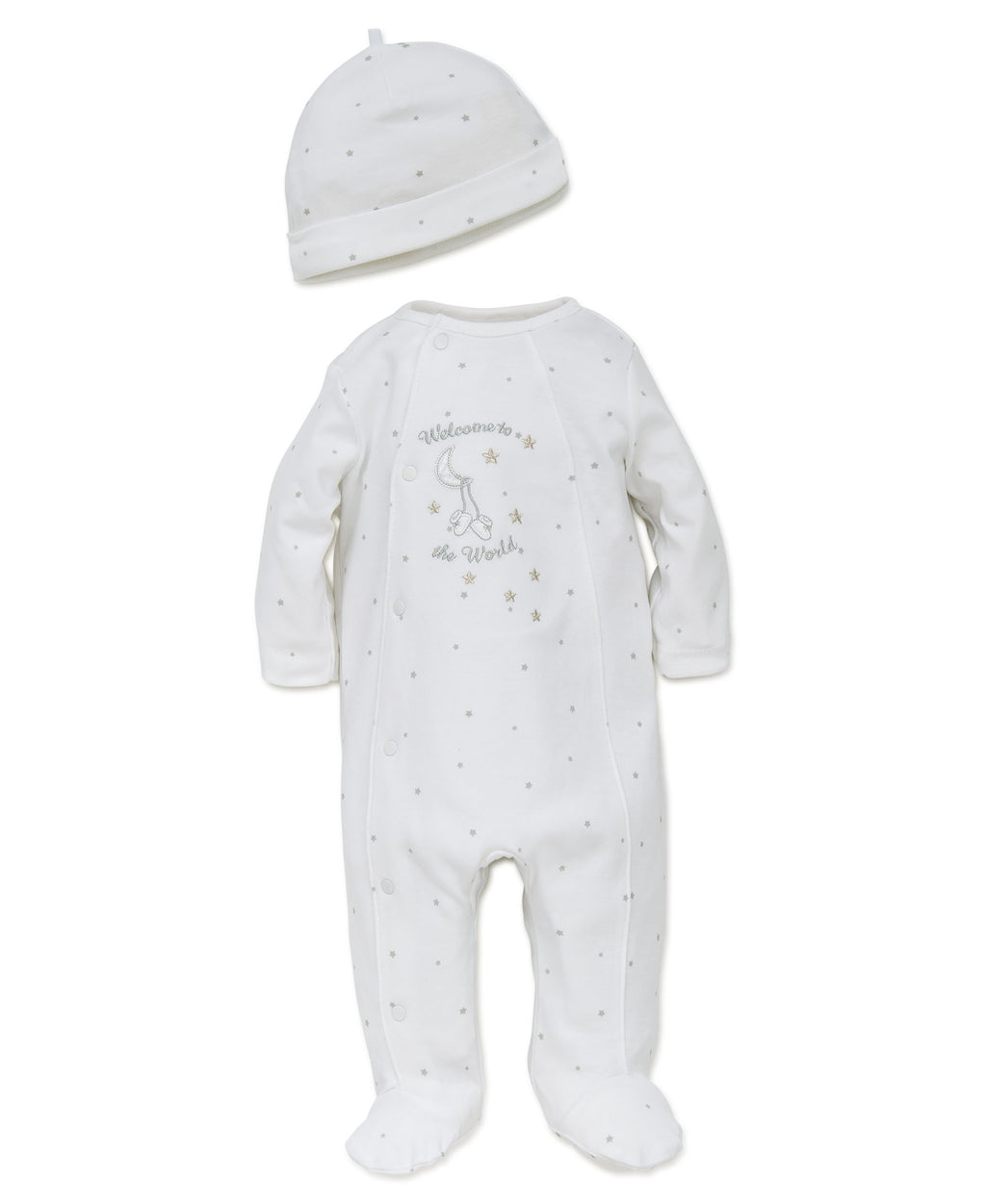 Welcome To The World Footed One-Piece and Hat