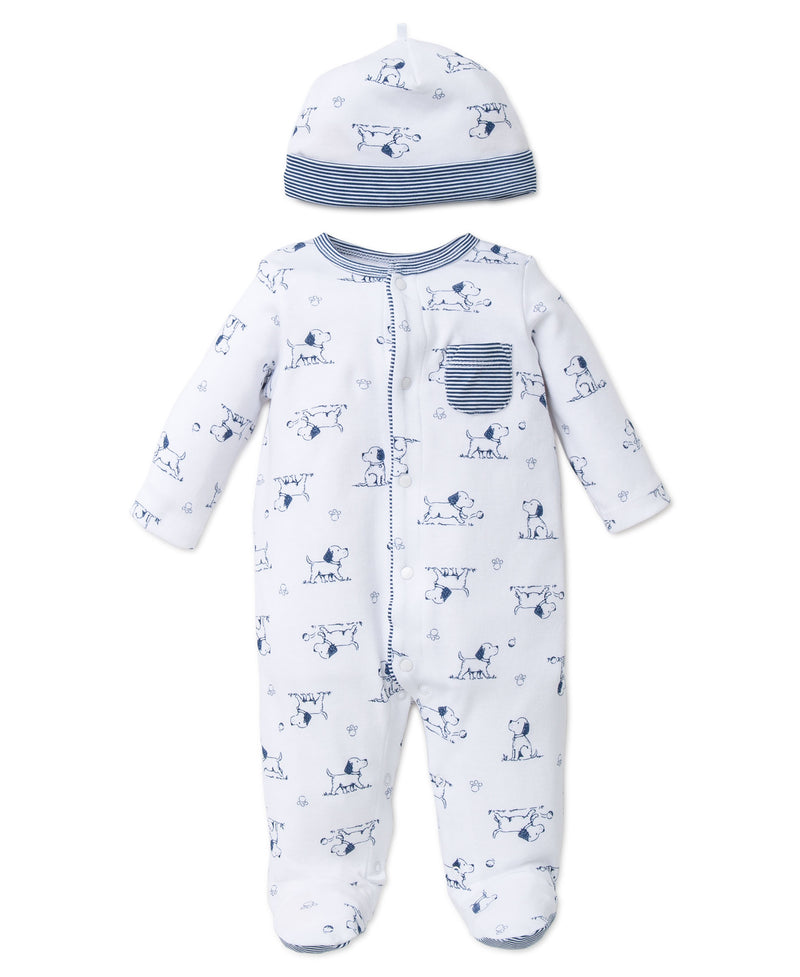 Puppy Toile Footed One-Piece And Hat - Little Me
