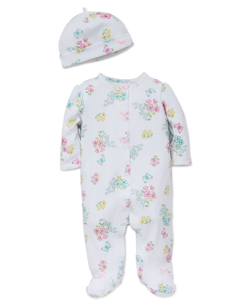 Meadow Floral Footed One-Piece And Hat - Little Me