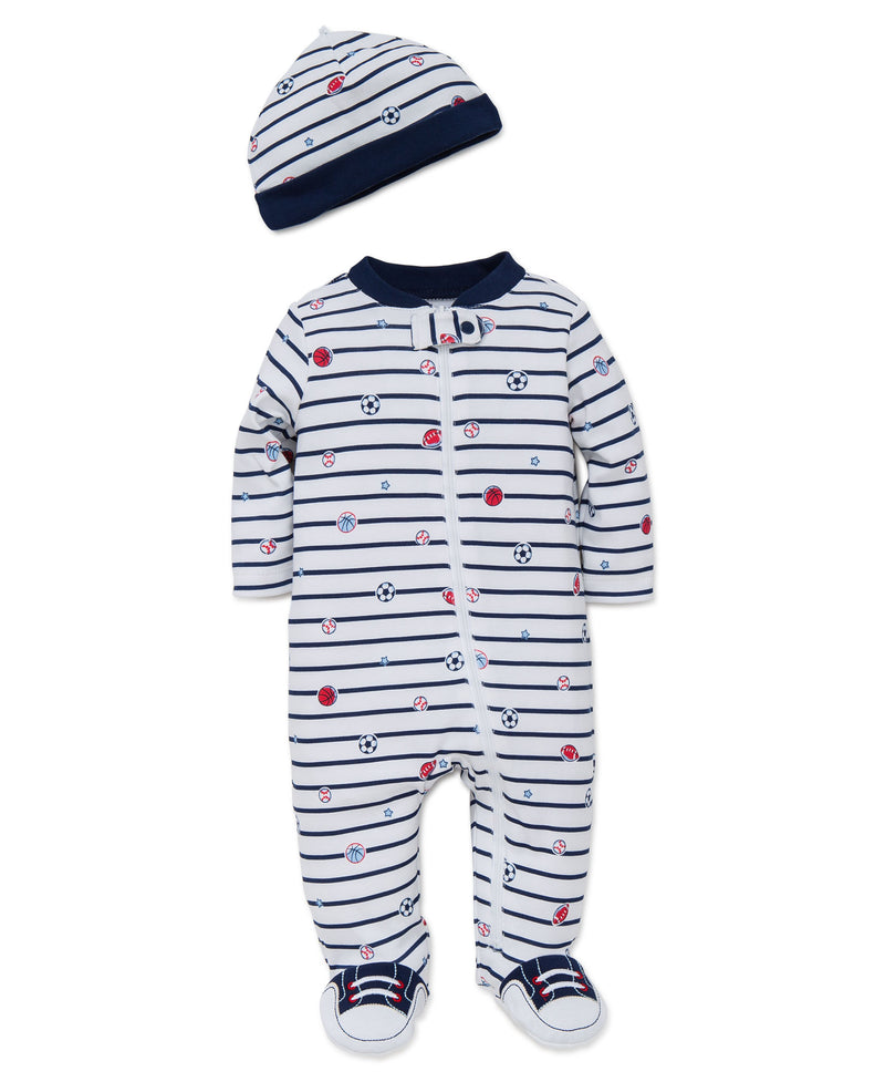 Sports Star Footed One-Piece and Hat - Little Me