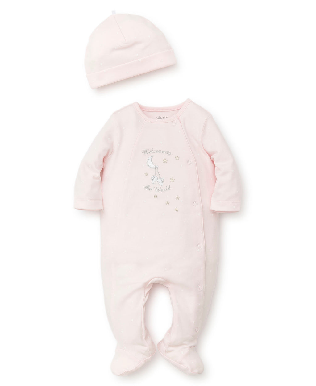 Pink Welcome To The World Footed One-Piece And Hat