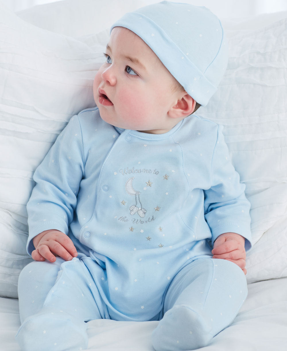 Blue Welcome to the World Footed One-Piece and Hat