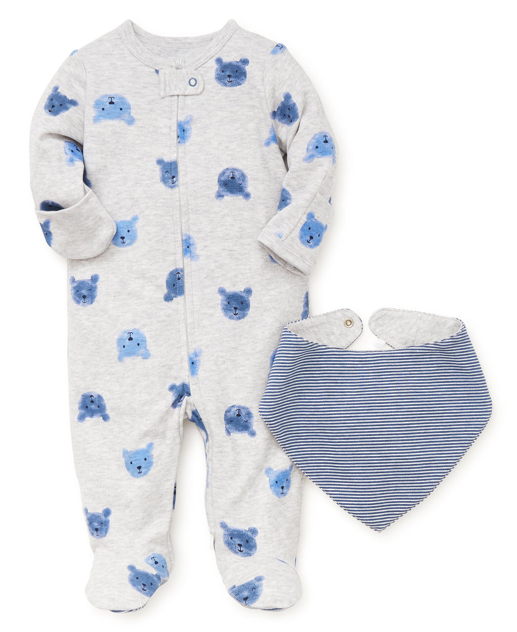 Boys Bear Footed One-Piece and Bib