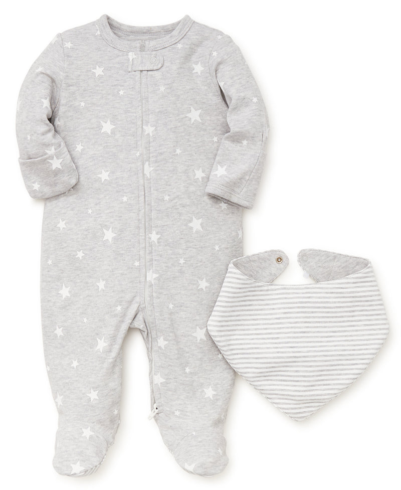 Stars Footed One-Piece and Bib