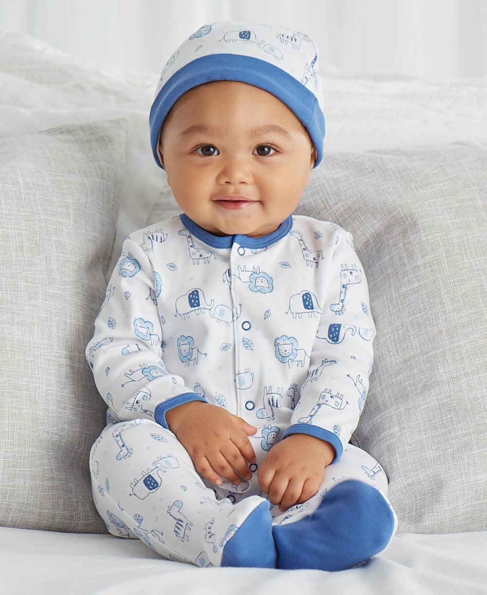 Blue Safari Footed One-Piece and Hat