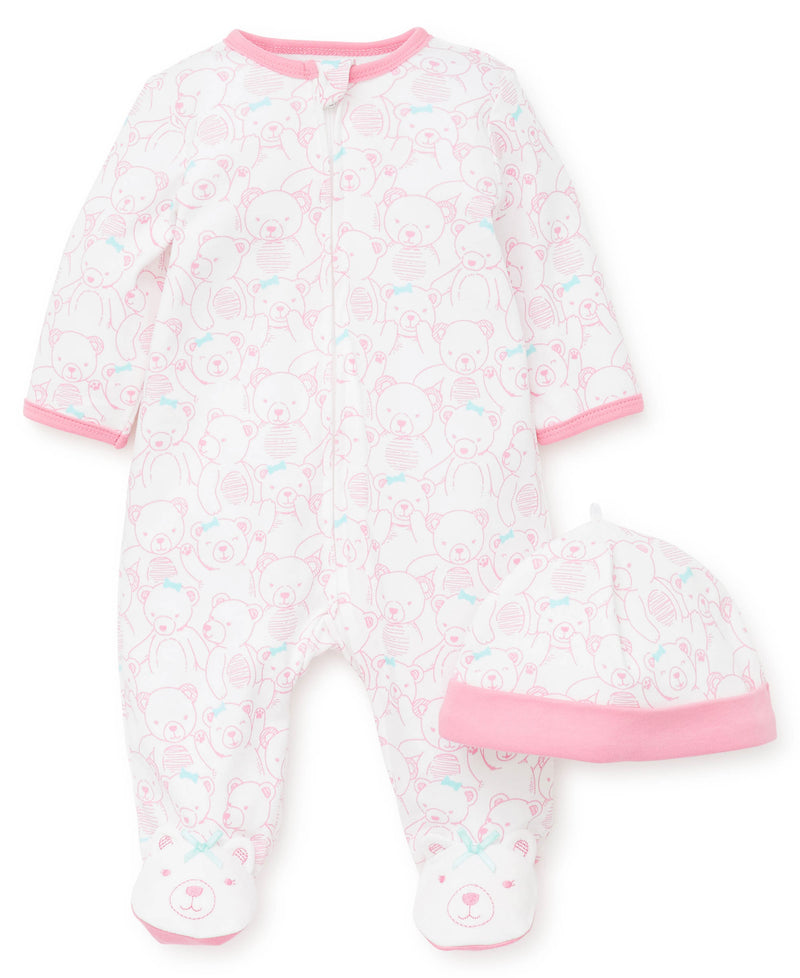 Girl Teddy Footed One-Piece And Hat
