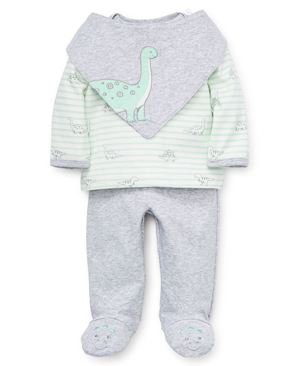 Stripe Dino Footed Pant Set