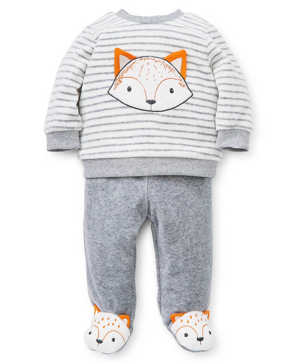 Fox Velour Top and Footed Pants