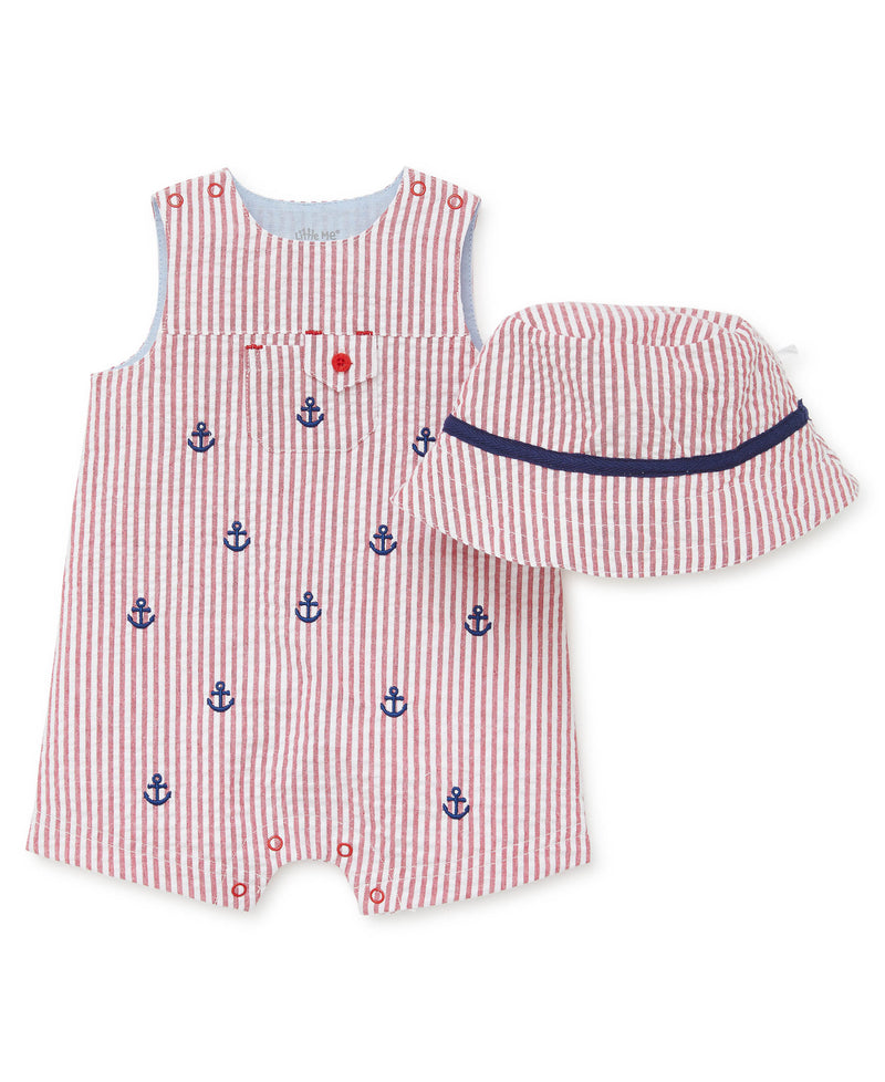 Red Woven Romper - Little Me