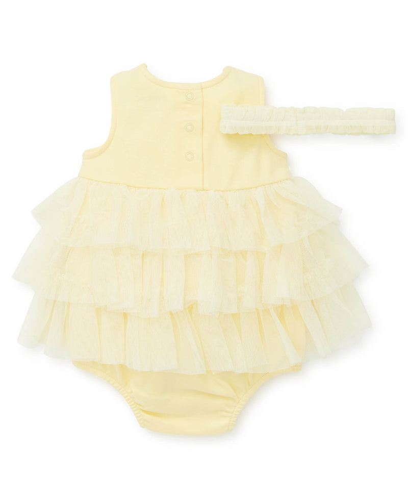 Yellow Mesh Popover Dress - Little Me