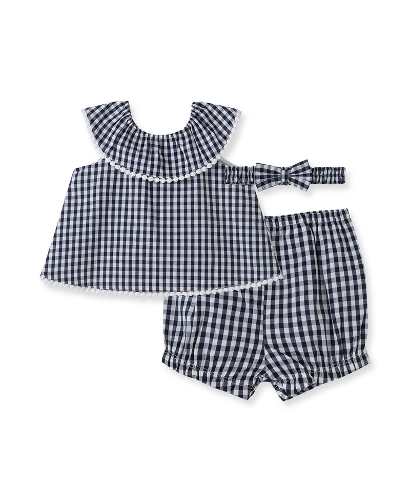 Navy Gingham Sunsuit