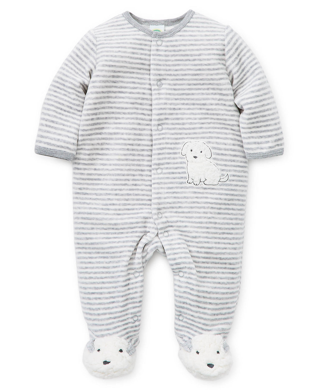 Puppy Stripe Velour Footed One-Piece