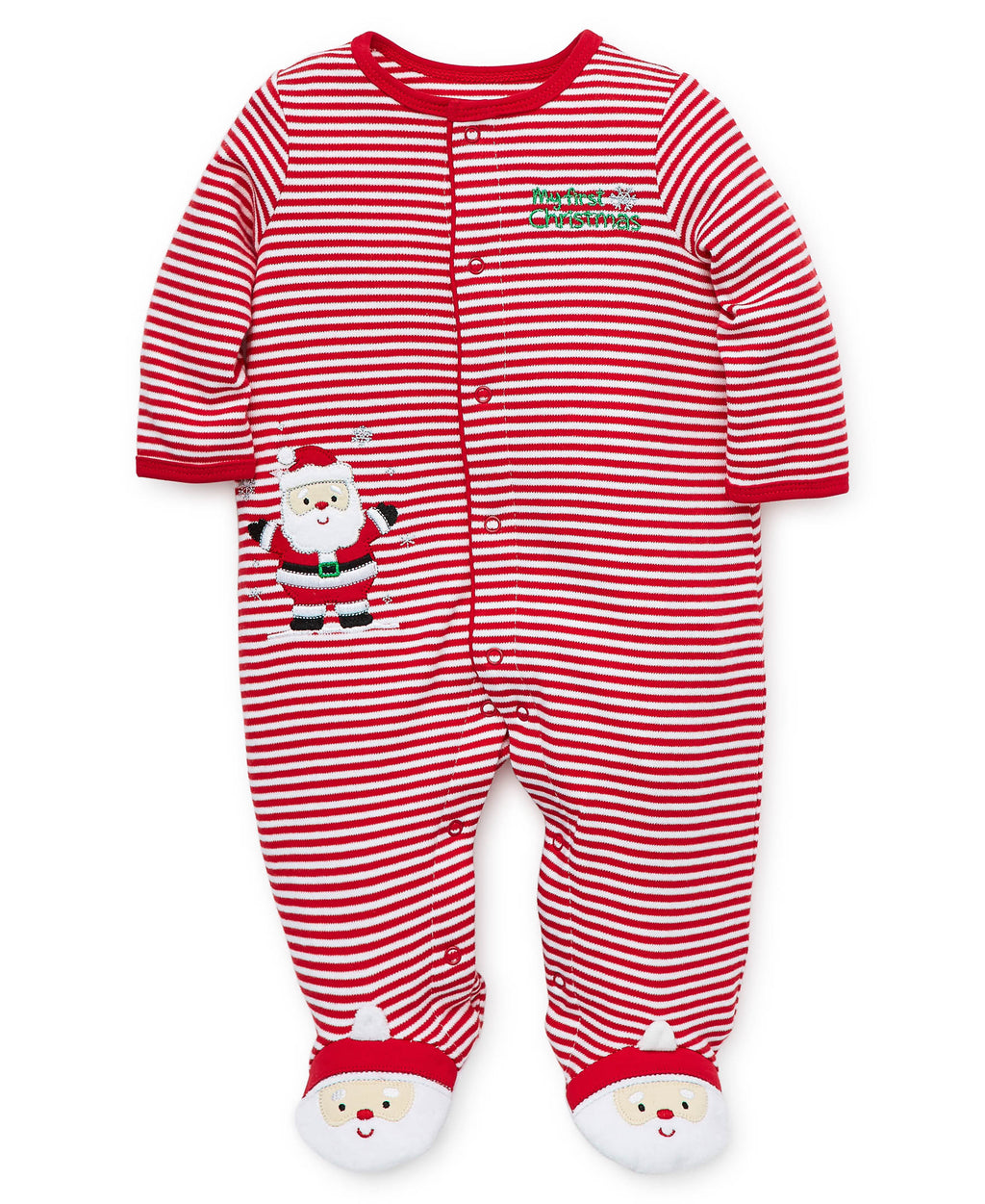 Holiday Striped Santa Footed One-Piece