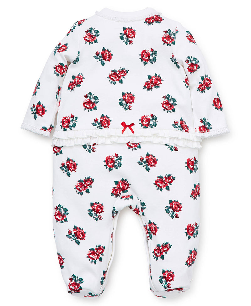 Holiday Rose Footed One-Piece And Hat