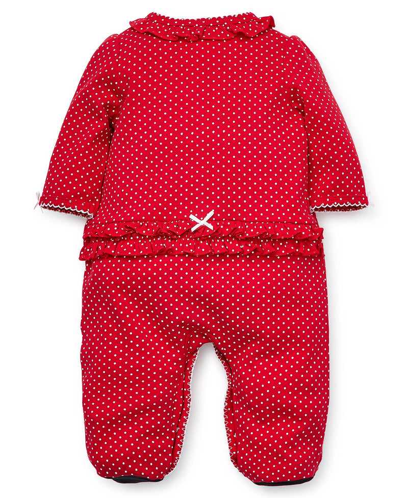 Holiday Polka Dot Footed One-Piece And Hat