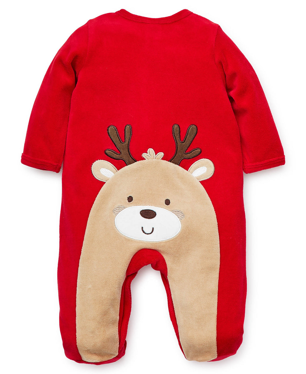 Holiday Reindeer Velour Footed One-Piece