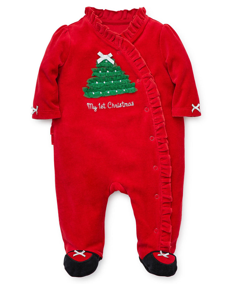 Holiday Tree Velour Footed One-Piece