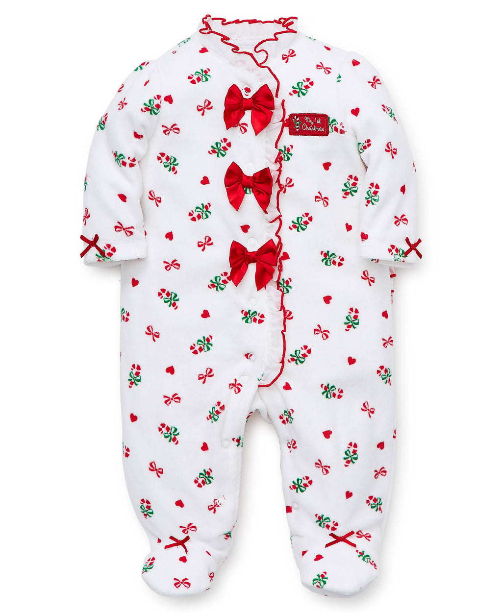 Holiday Candy Cane Velour Footed One-Piece