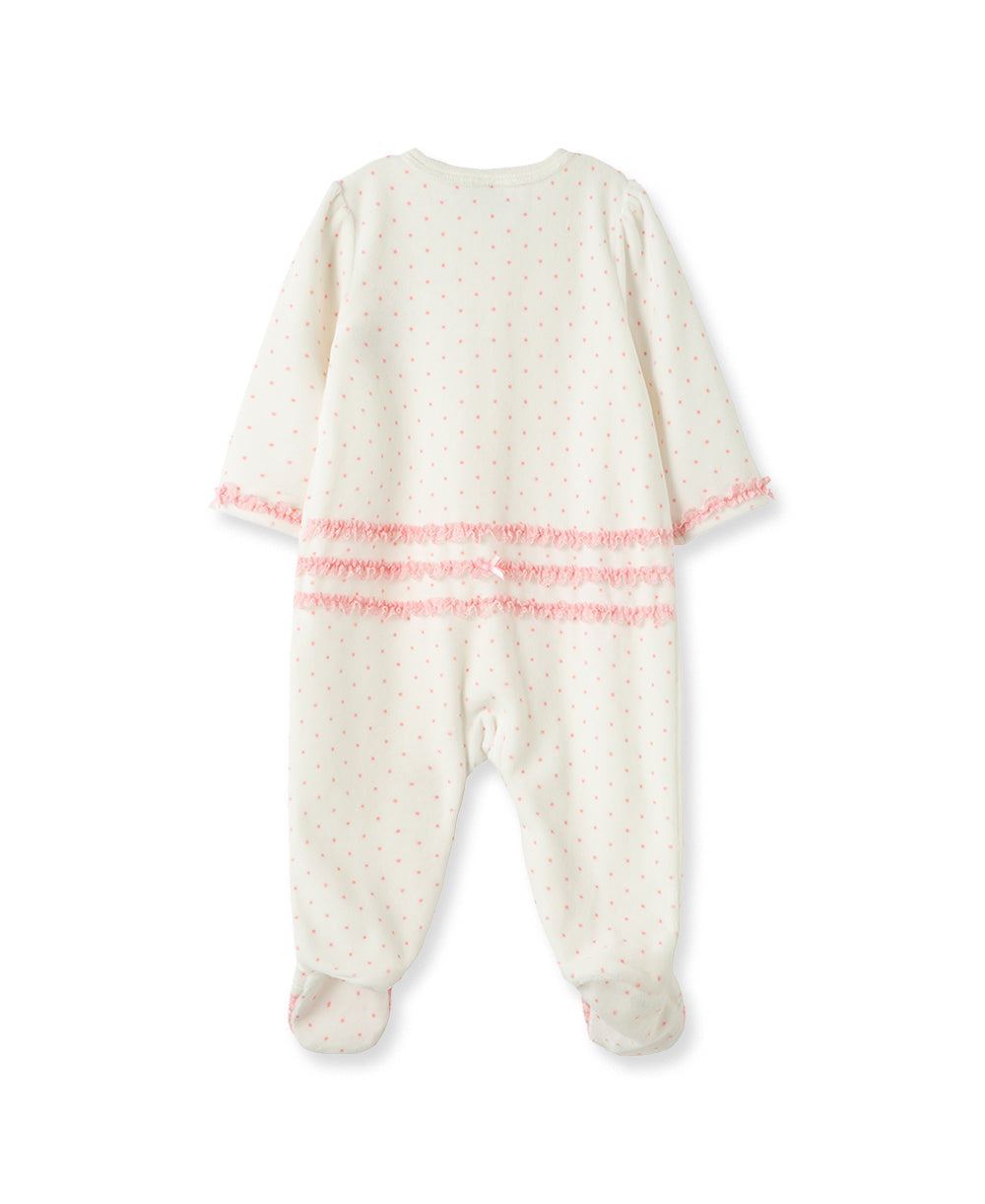Cupcake Velour Footed One-Piece