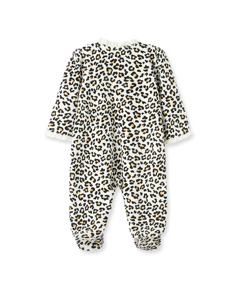 Leopard Velour Footed One-Piece