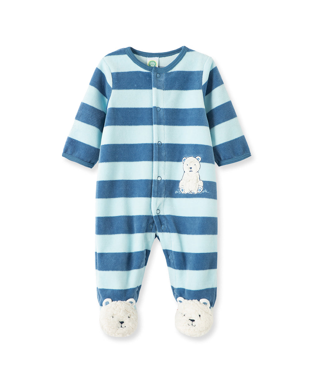 Polar Bear Velour Footed One-Piece