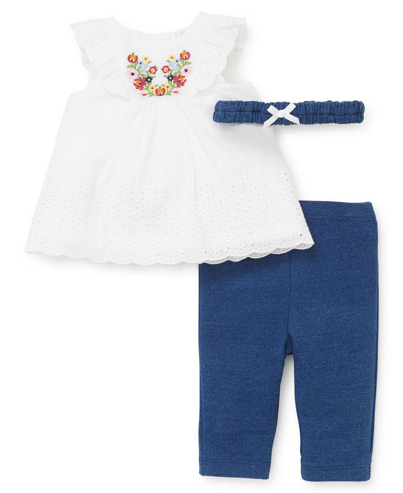 Bouquet Woven Tunic and Leggings - Little Me