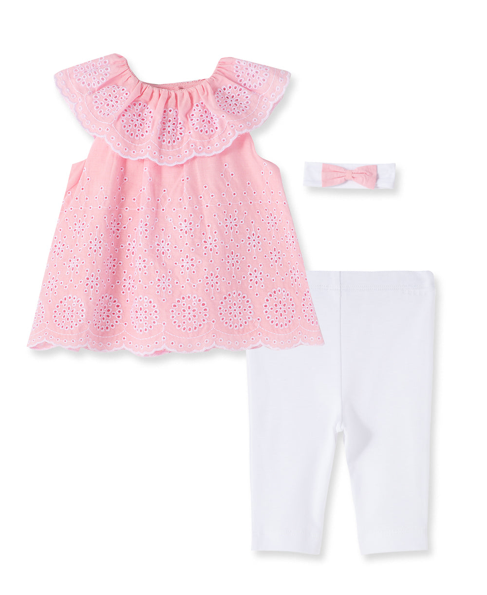 Allover Eyelet Woven Infant Tunic Set