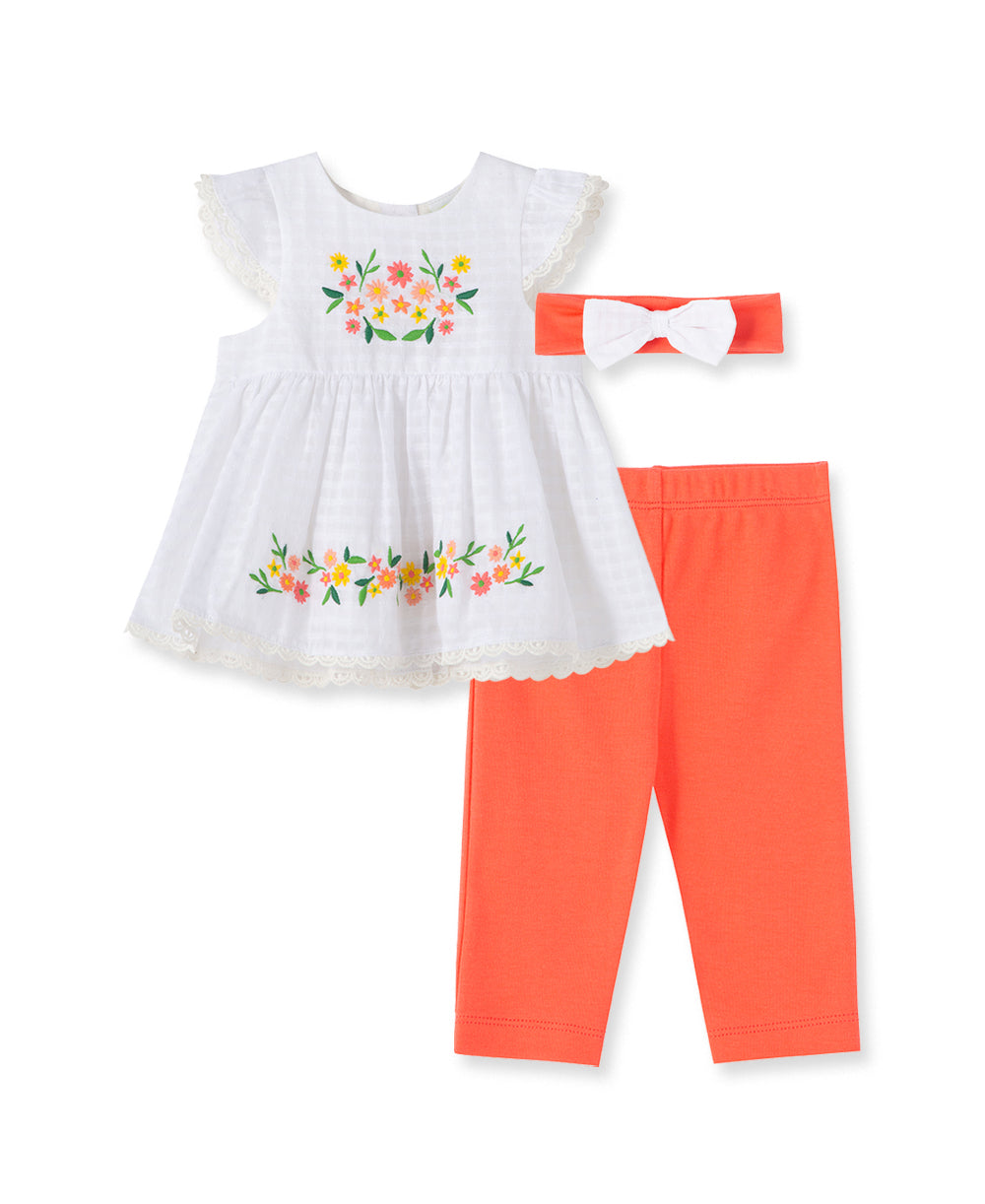 Floral Embroidery Woven Infant Tunic Set