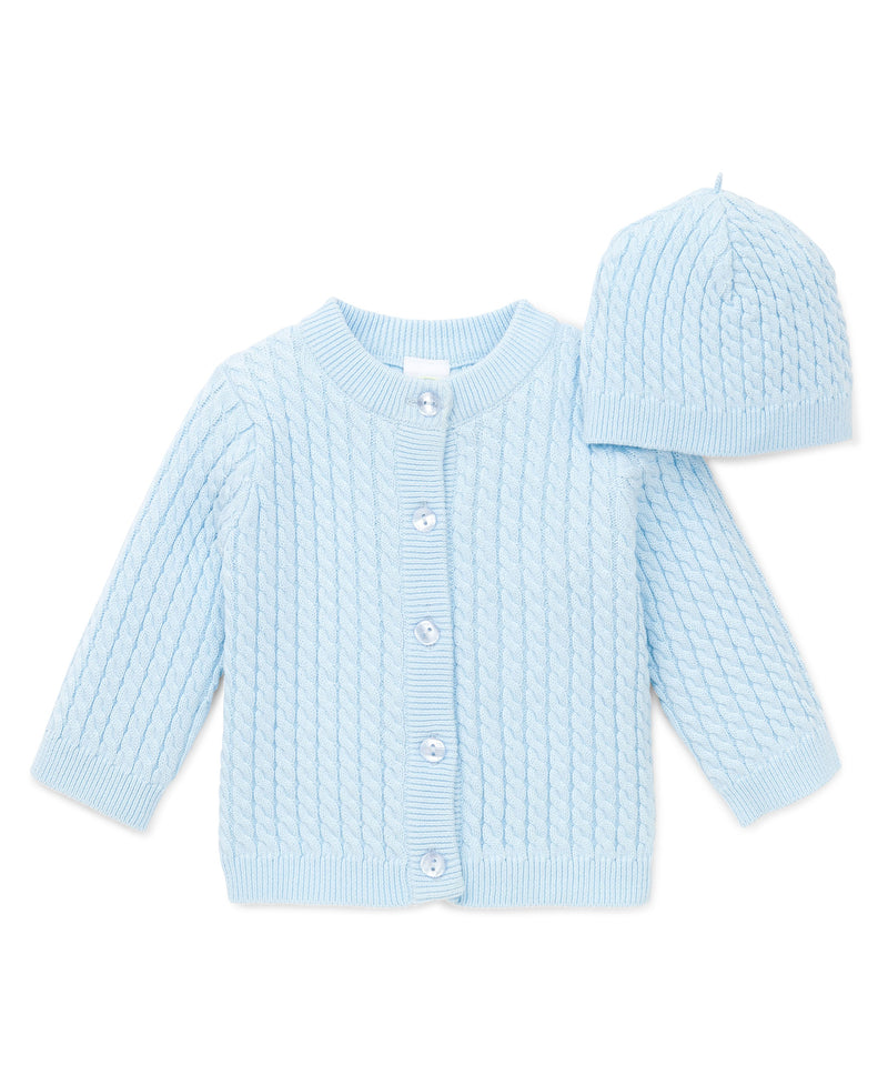 Blue Cable Sweater and Hat - Little Me
