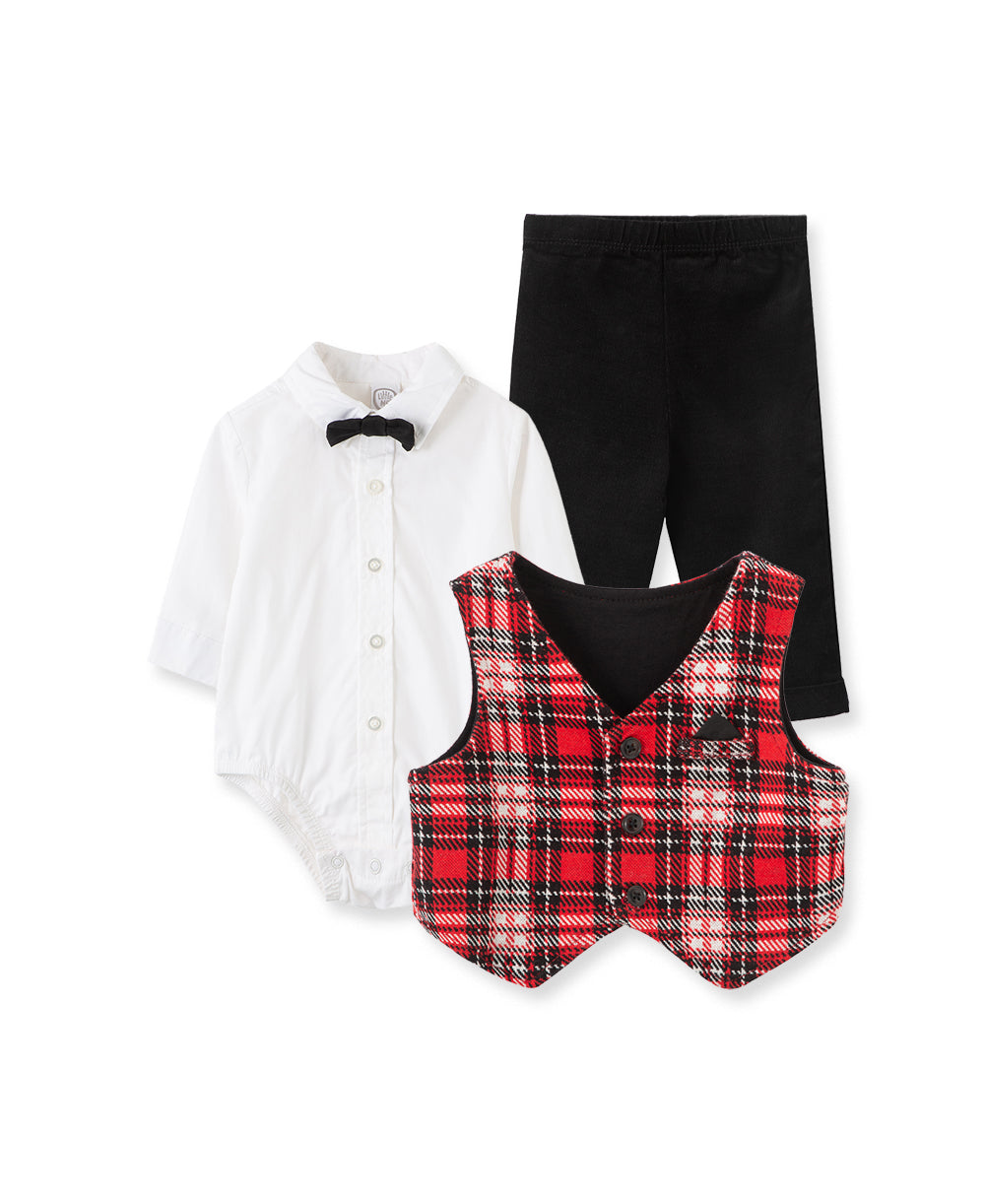 Festive Party Plaid Vest Set