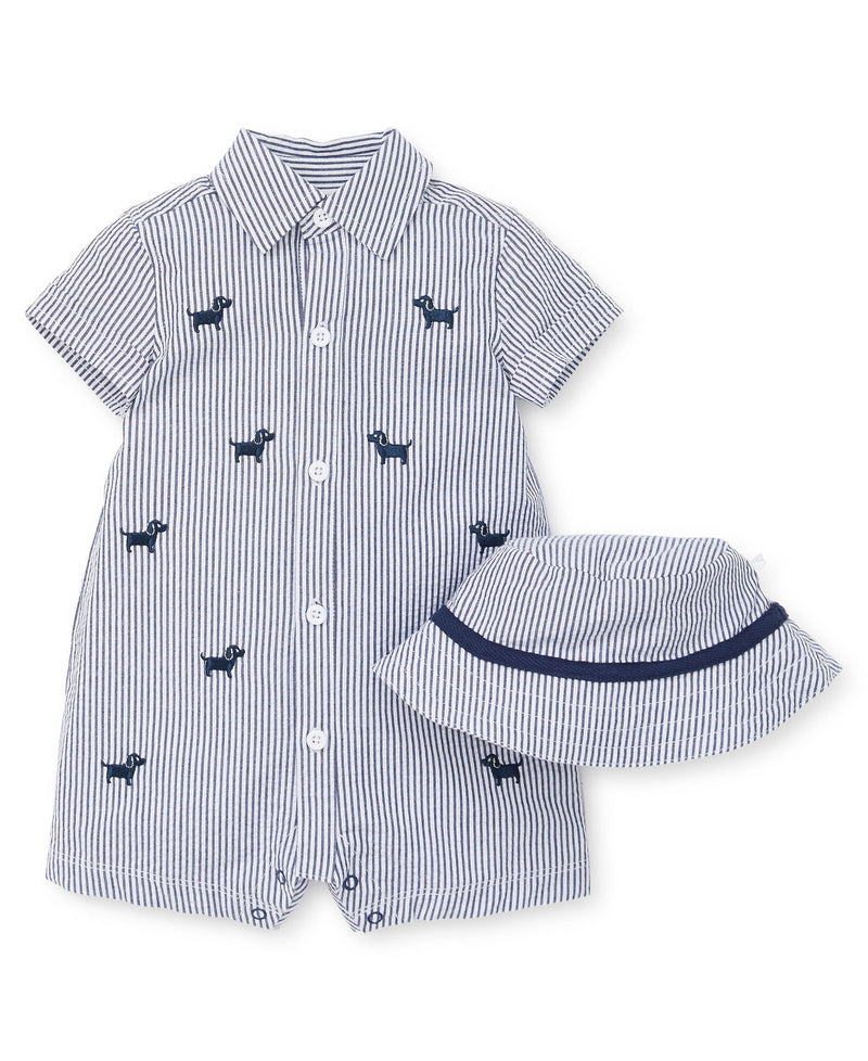 Top Doggy Button-Down Romper - Little Me