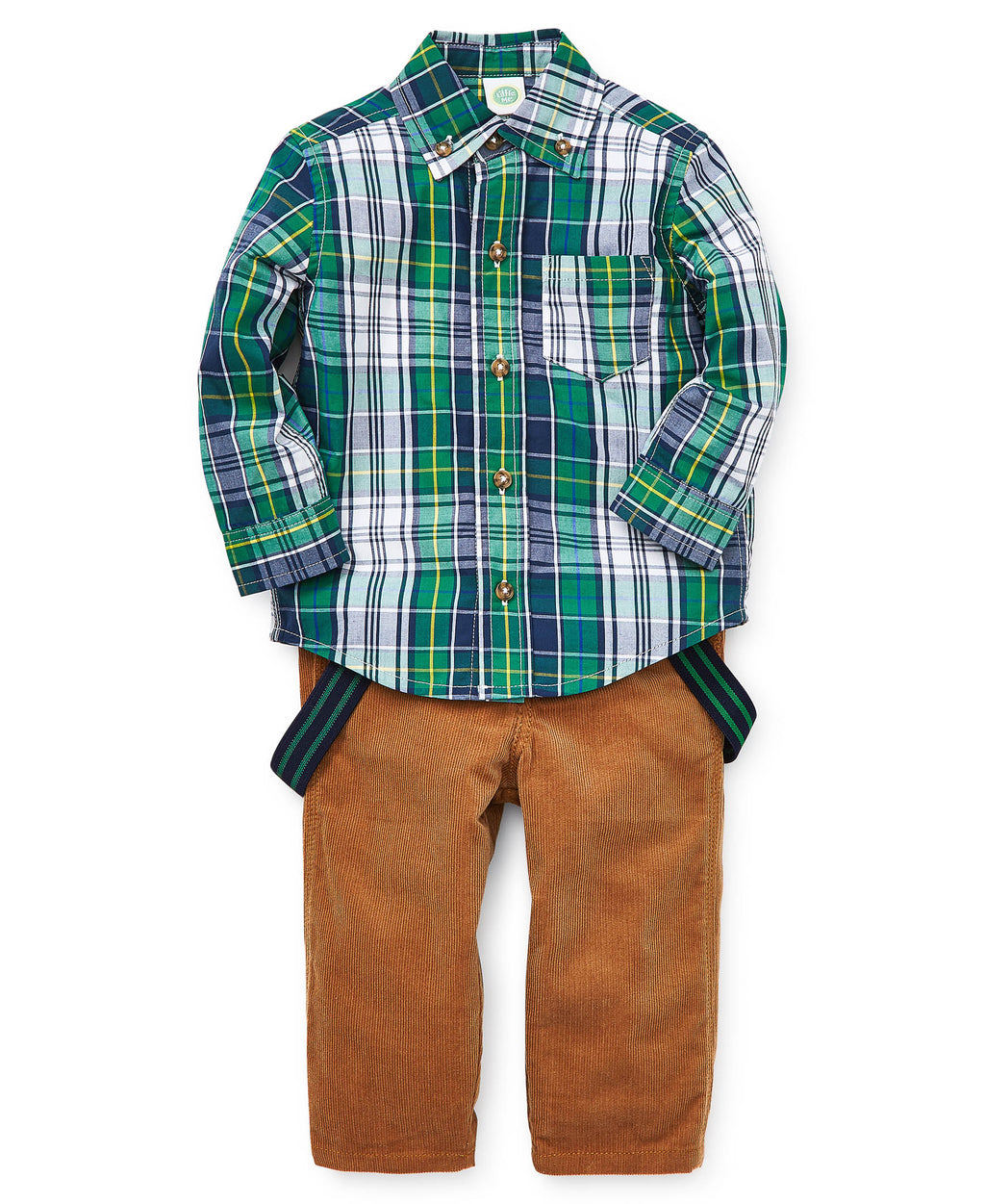 Green Plaid Toddler Button-Up Top and Pants