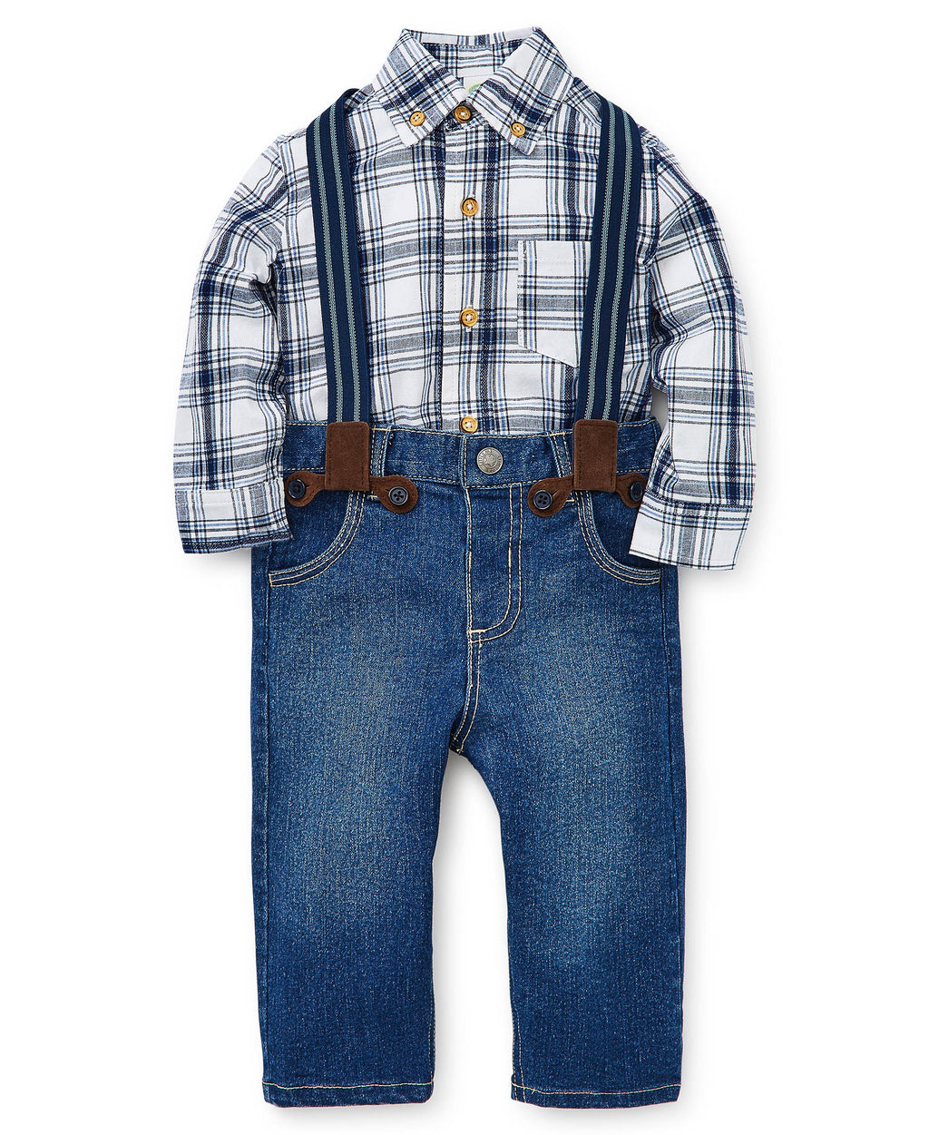 Plaid Toddler Button-Up Top and Pants