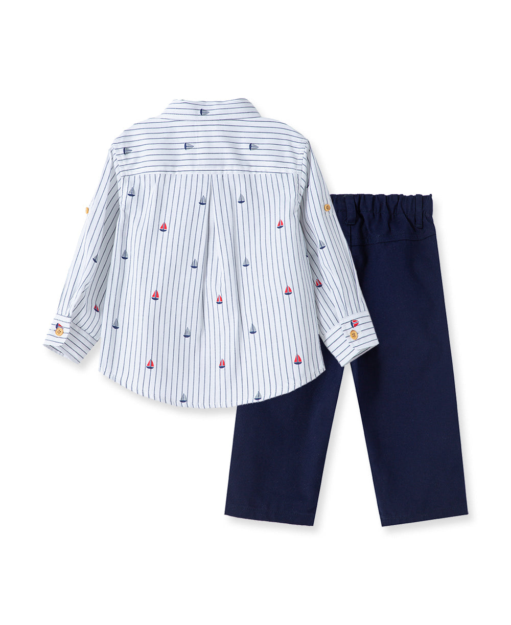 Nautical Woven Toddler Pant Set