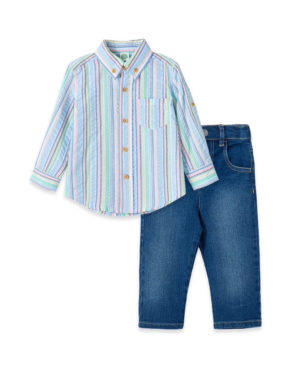 Multi Stripe Woven Toddler Pant Set