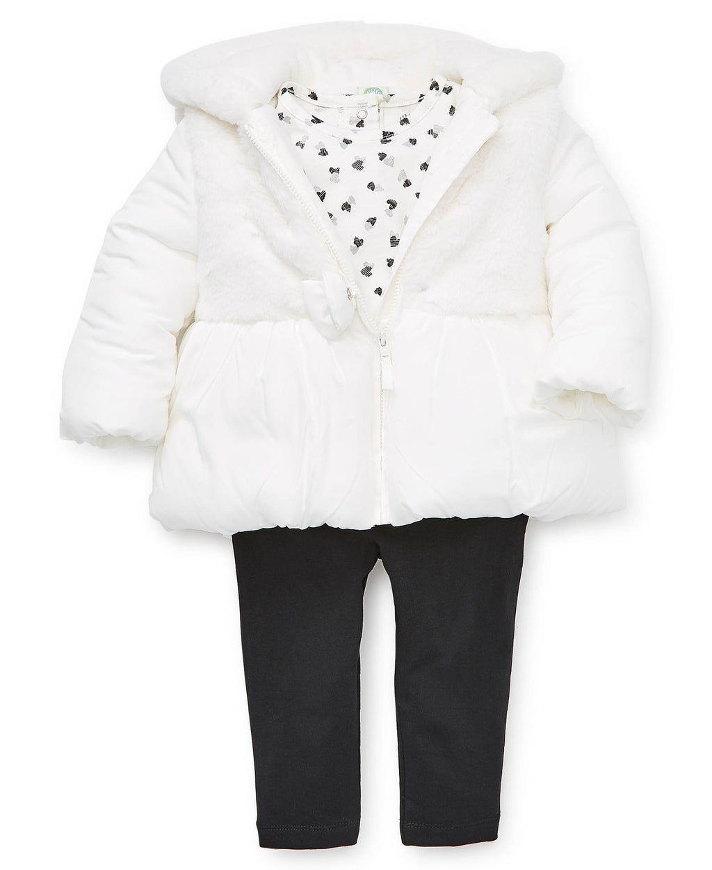 White Fur Toddler Jacket Set
