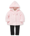 Pink Fur Jacket Set