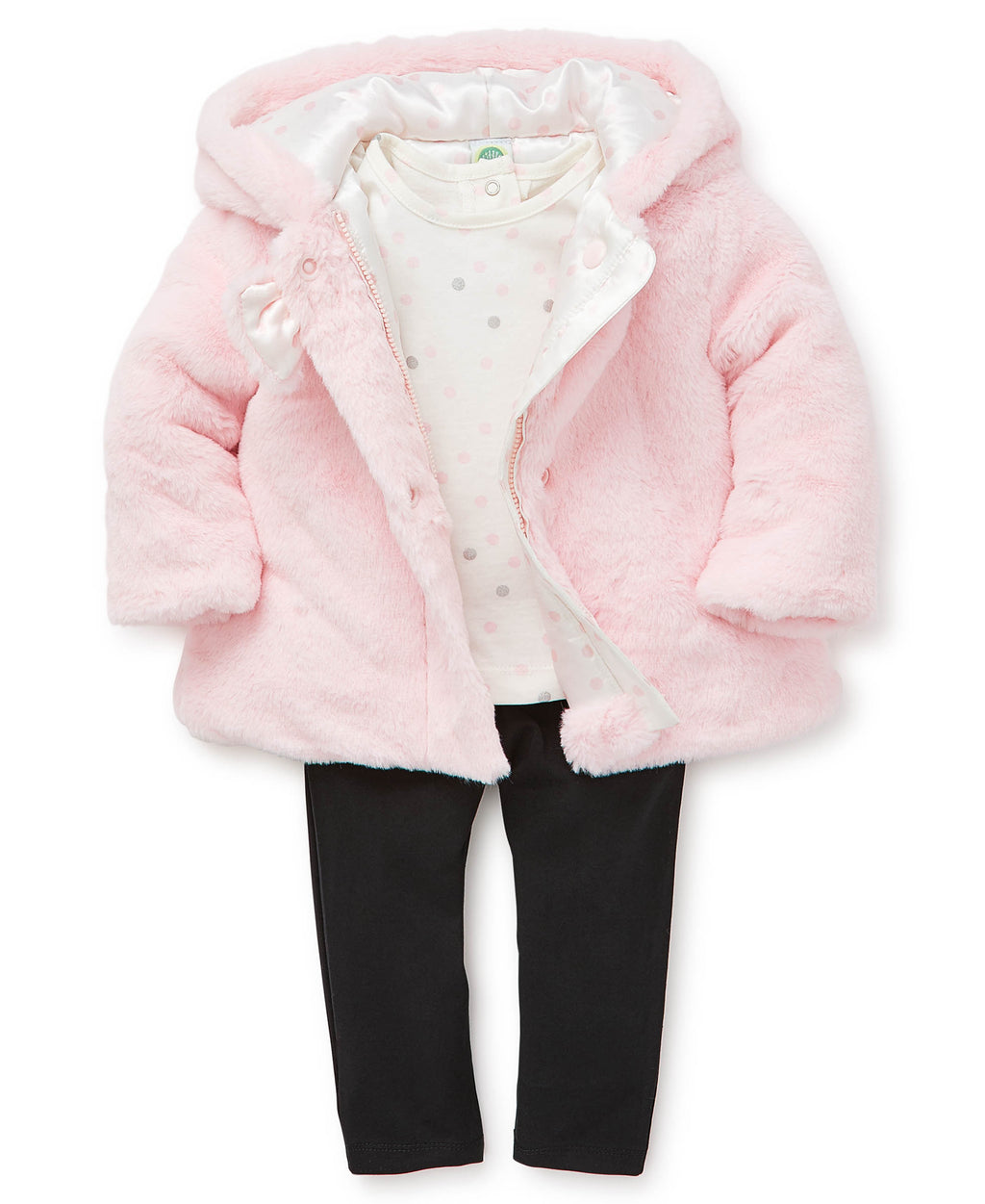 Pink Fur Toddler Jacket Set