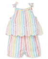 Multi Stripe Woven Toddler Romper