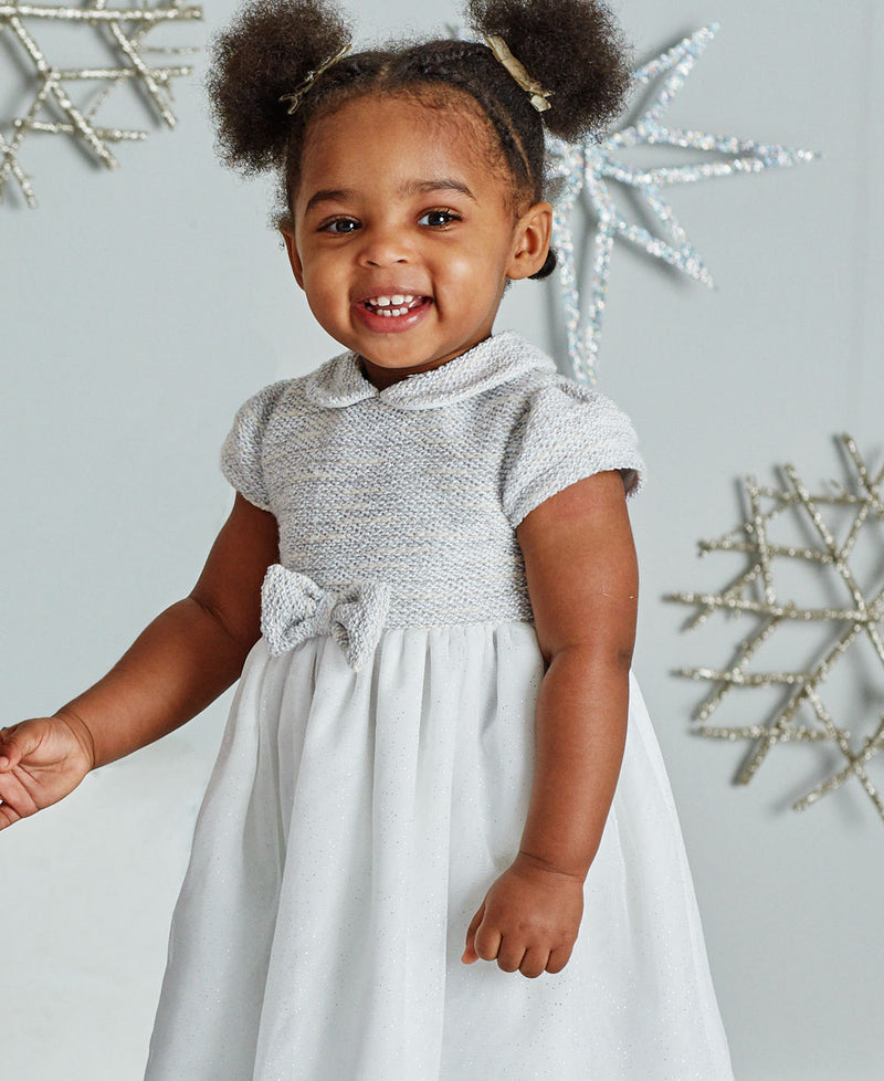 Gray Boucle Toddler Dress