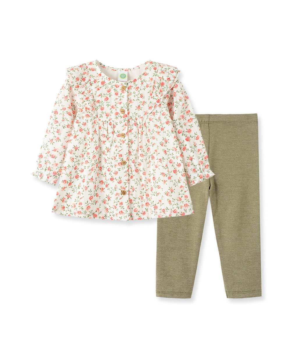 Roses Woven Toddler Tunic Set