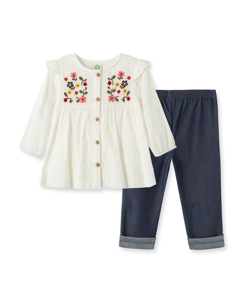 Embroidered Woven Tunic Set