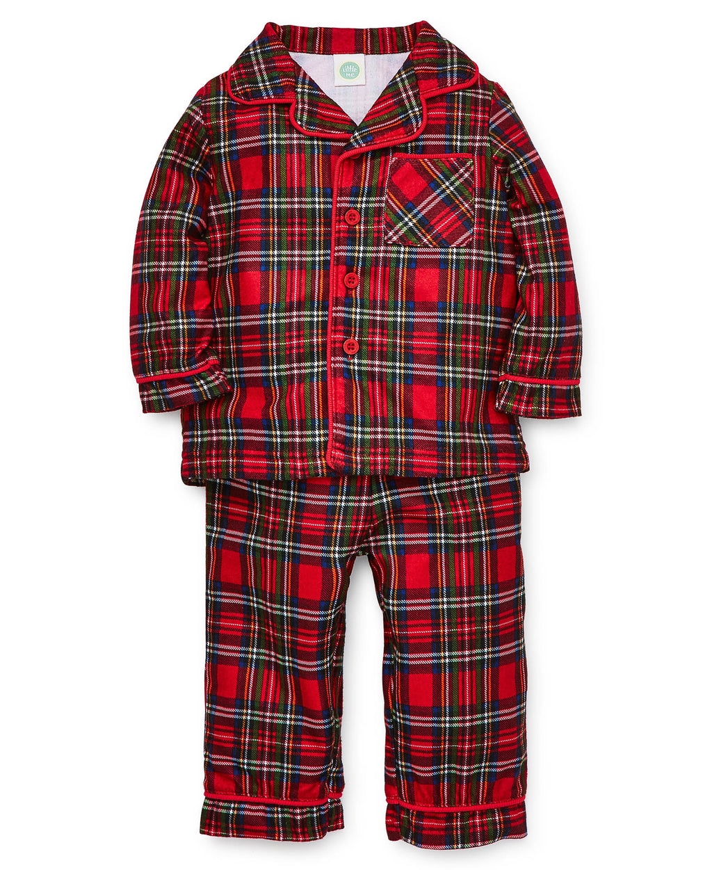 Plaid Collared Pajama Set