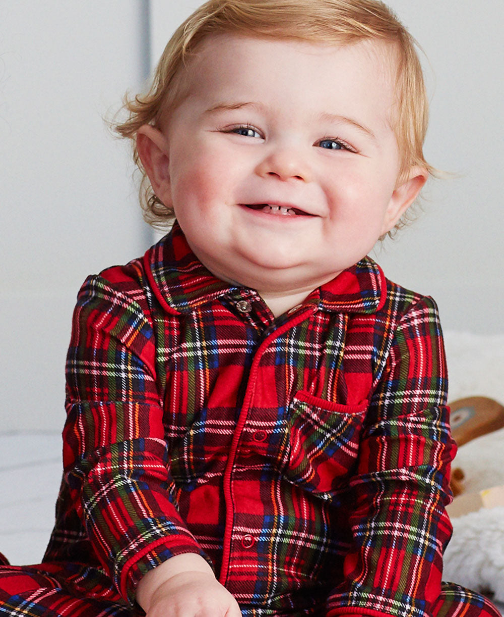 Holiday Plaid Collared Footed Pajama