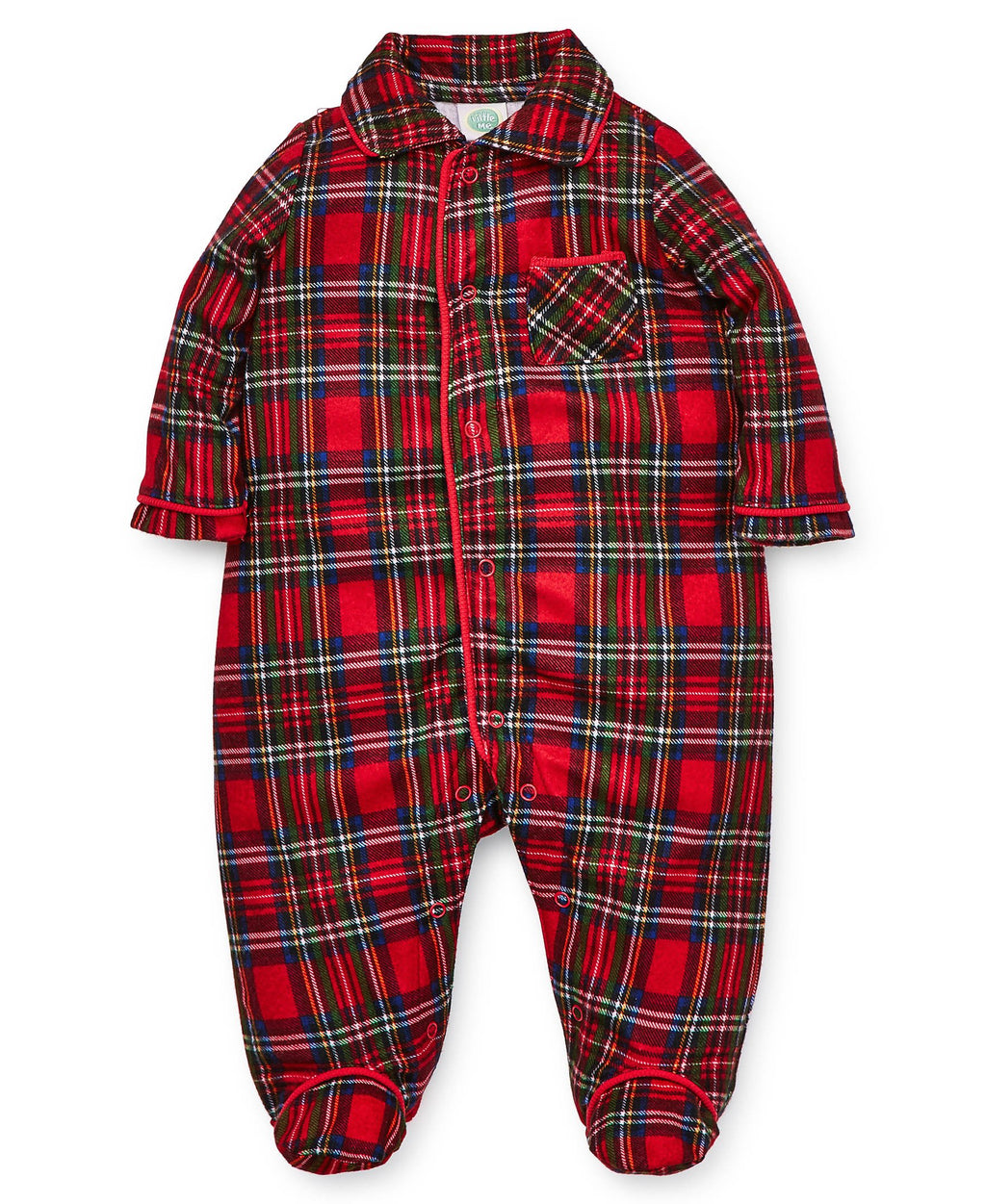 Holiday Plaid Collared Footed One-Piece