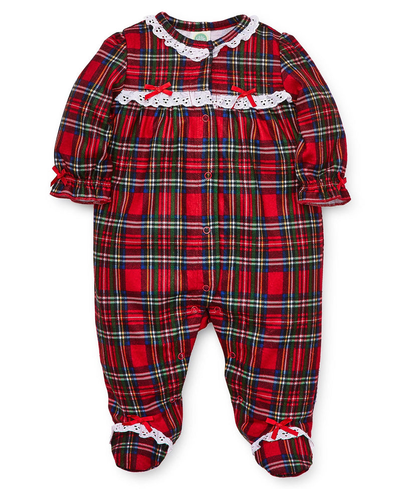 Holiday Plaid Ruffle Footed One-Piece