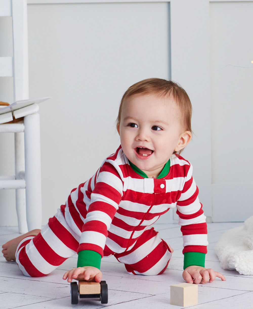 Red Stripe Toddler Zip Up Pajama